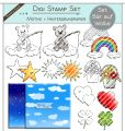 Digi Stamp Set - Bär auf Wolke + digital Papier
