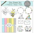 Digi Stamp Set - Blumen Bienchen - Motive + Papier + Text