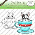 Digi Stamp - Tassen Bulldogge - s/w & farbige Version