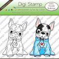 Digi Stamp - Hoodie Bulldogge - s/w & farbige Version