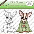 Digi Stamp - Hoodie Chihuahua - s/w & farbige Version