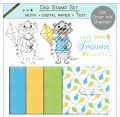 Digi Stamp Set - Otter mit Drachen + digital Papier + Text