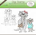 Digi Stamp - Otter mit Kind - s/w & farbige Version