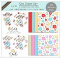 Digi Stamp Set - Blumen Milly + digital Papier + Text