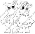Digi Stamp - Hippo Pärchen - s/w Version
