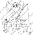 Digi Stamp - Elefant beim Angeln - s/w Version