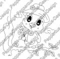 Digi Stamp - Piepmatz mit Hut & Blumen - s/w Version
