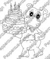 Digi Stamp - Hippo mit Torte - s/w Version