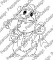 Digi Stamp - Meerie mit Pokal - s/w Version
