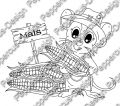 Digi Stamp - Maus mit Mais - s/w Version