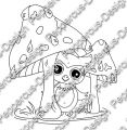 Digi Stamp - Eule unter Pilz - s/w Version