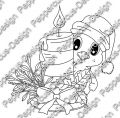 Digi Stamp - Piepmatz mit Adventsgesteck - s/w Version
