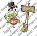 Digi Stamp - Schneemann mit Suppe - colorierte Version