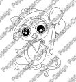 Digi Stamp - Eule mit Ballon - s/w Version