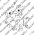 Digi Stamp - Hund Toffy mit Blumen - s/w Version