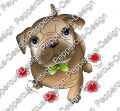 Digi Stamp - Hund Toffy mit Blumen - colorierte Version