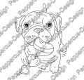 Digi Stamp - Hund Toffy mit Herzen - s/w Version