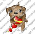 Digi Stamp - Hund Toffy mit Herzen - colorierte Version
