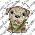 Digi Stamp - Hund Toffy - Rund - colorierte Version