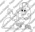 Digi Stamp - Rollschuh-Ei mit Schokohase - s/w Version